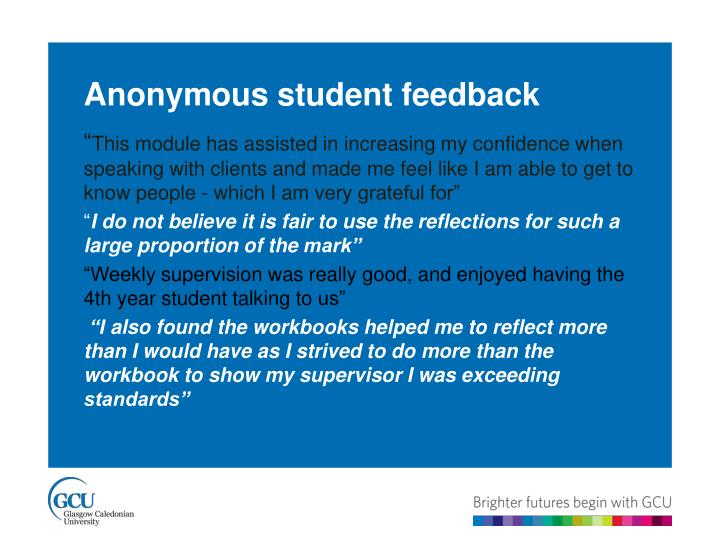 Anonymous student feedback