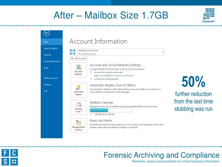 After – Mailbox Size