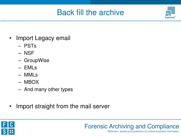 Import Legacy email