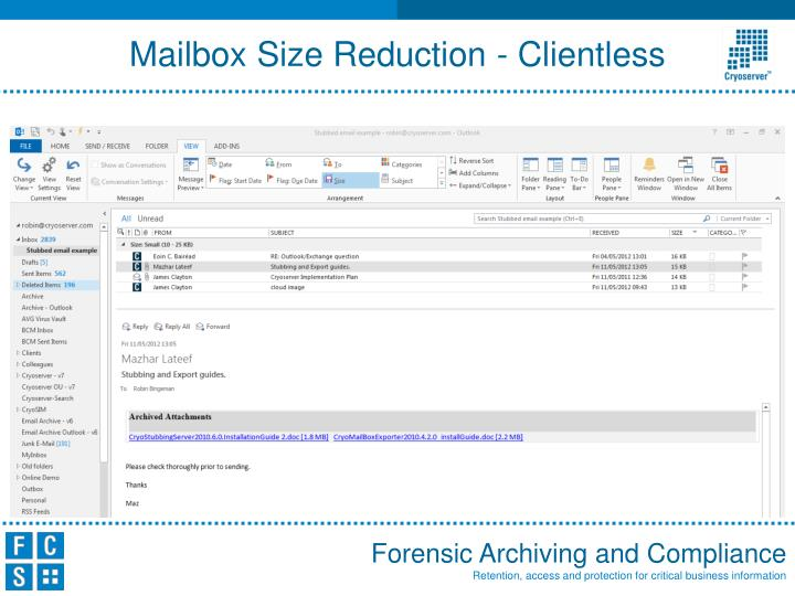 Mailbox Size Reduction - Clientless
