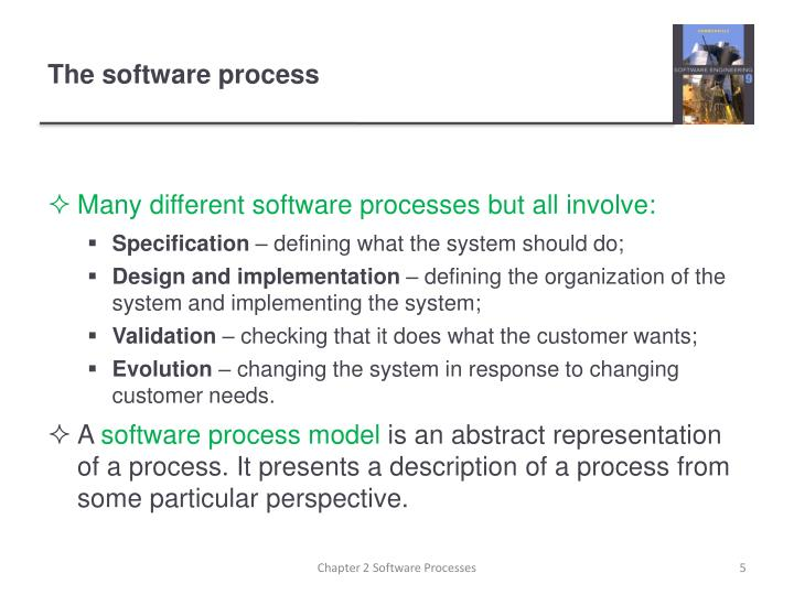 Many different software processes but all involve: