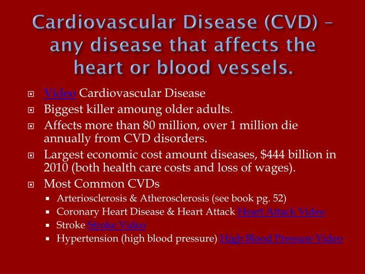Cardiovascular Disease (CVD) – any disease that affects the heart or blood vessels.