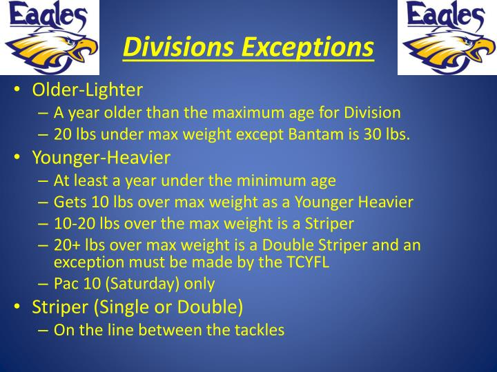 Divisions Exceptions