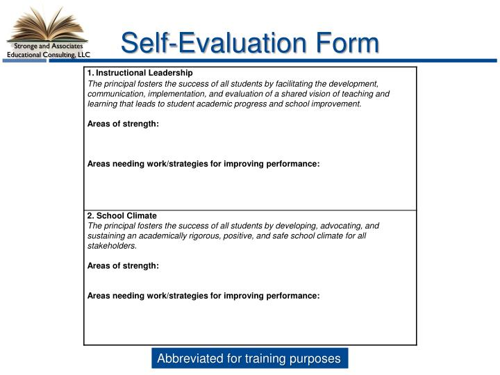 Self-Evaluation Form