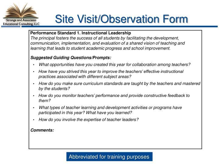 Site Visit/Observation Form