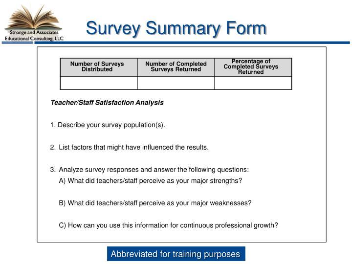 Survey Summary Form