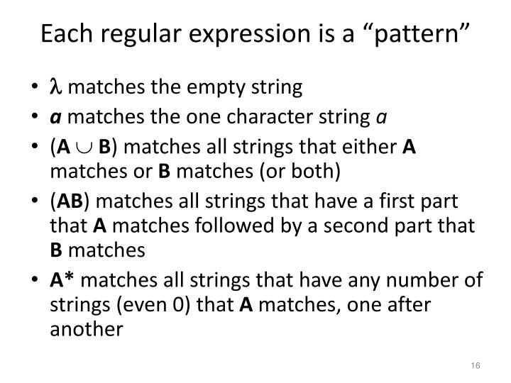 "Each regular expression is a ""pattern"""