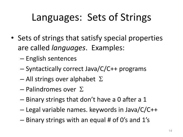 Languages:  Sets of Strings