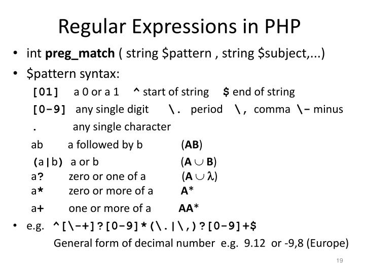 Regular Expressions in PHP