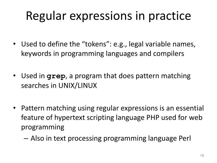 Regular expressions in practice