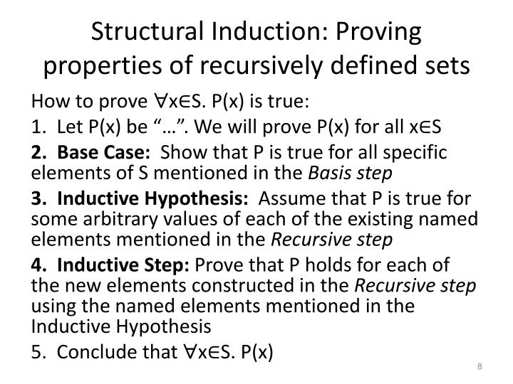 Structural Induction: Proving properties of recursively defined sets