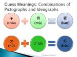 guess meanings combinations of pictographs and i deographs1
