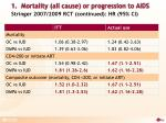 1 mortality all cause or progression to aids