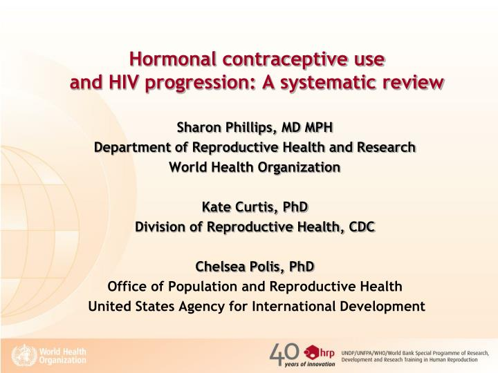 Hormonal contraceptive use and hiv progression a systematic review