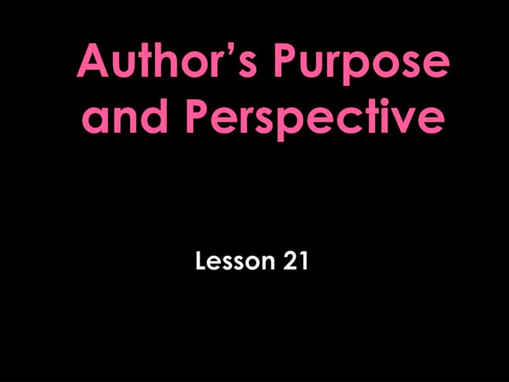 Author s purpose and perspective