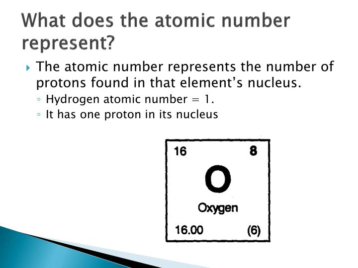 What does the atomic number represent?