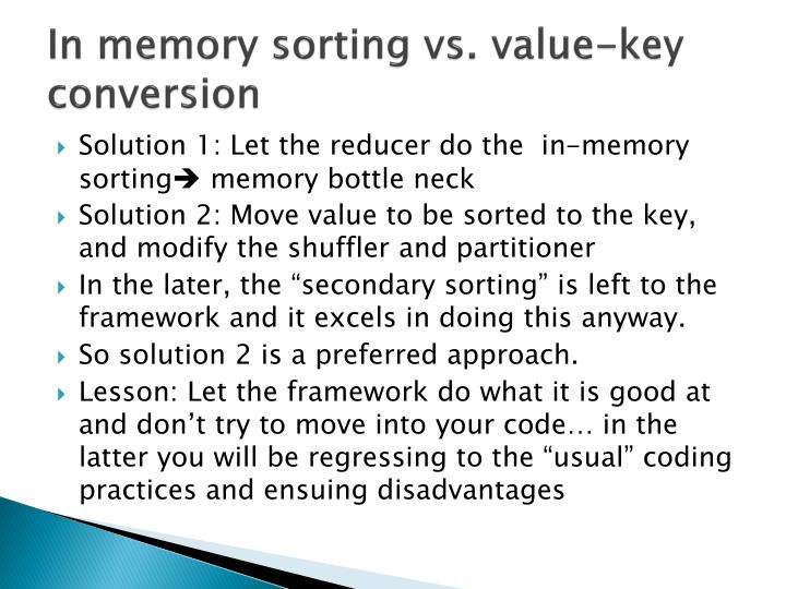 In memory sorting vs. value-key conversion