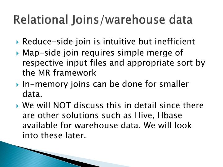 Relational Joins/warehouse data