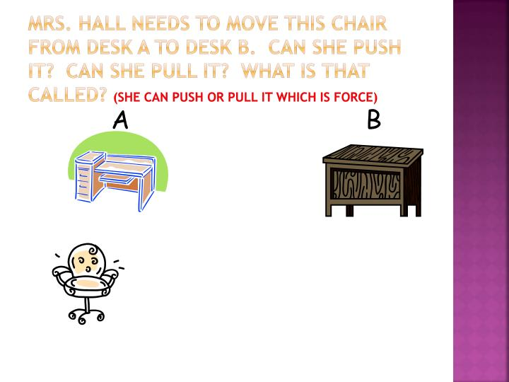 Mrs. Hall needs to move this chair from desk A to desk b.  Can she push it?  Can she pull it?  What is that called?