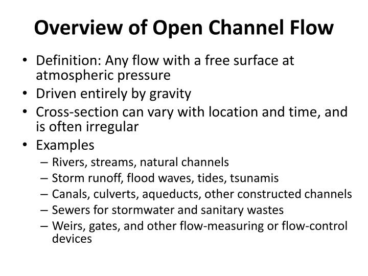 Overview of open channel flow