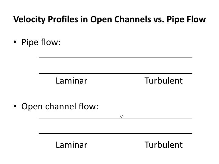 Velocity profiles in open channels vs pipe flow