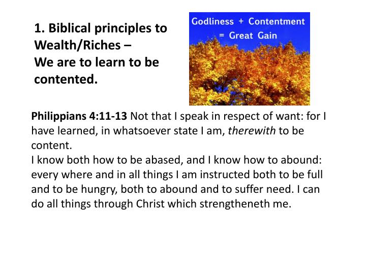 1. Biblical principles to Wealth/Riches –