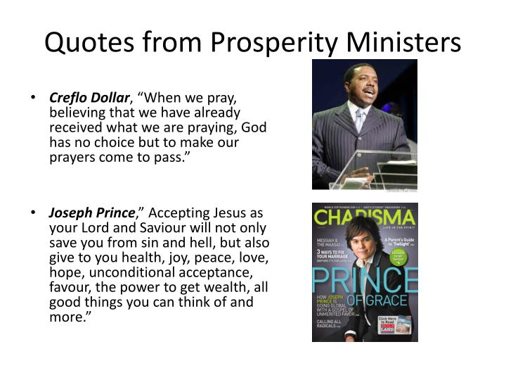 Quotes from Prosperity Ministers