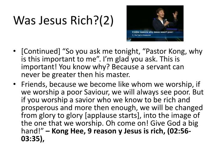 Was Jesus Rich?(2)