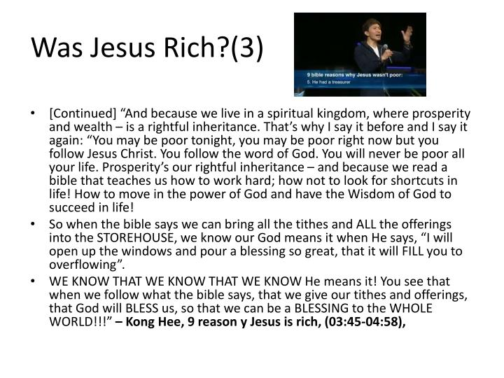 Was Jesus Rich?(3)