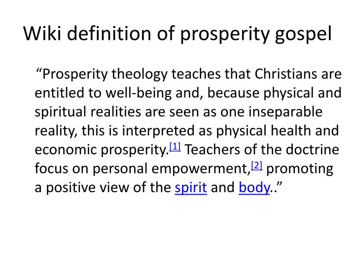Wiki definition of prosperity gospel