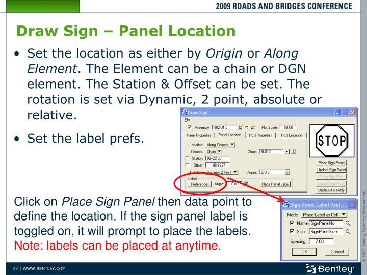 Draw Sign – Panel Location