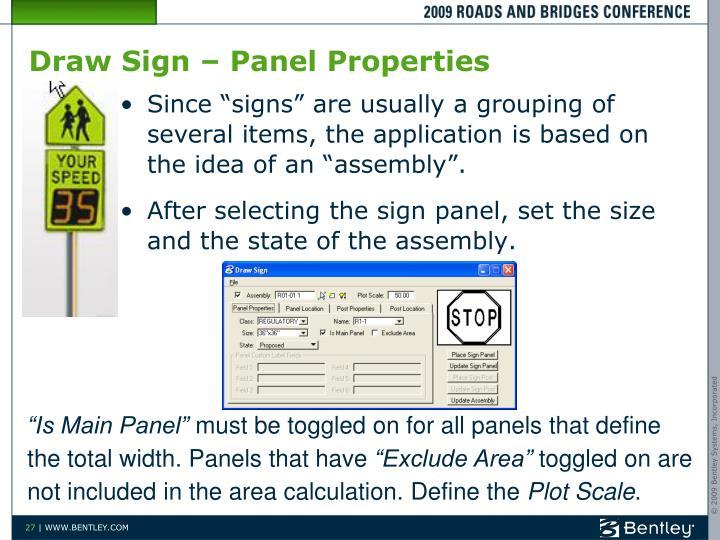 Draw Sign – Panel Properties