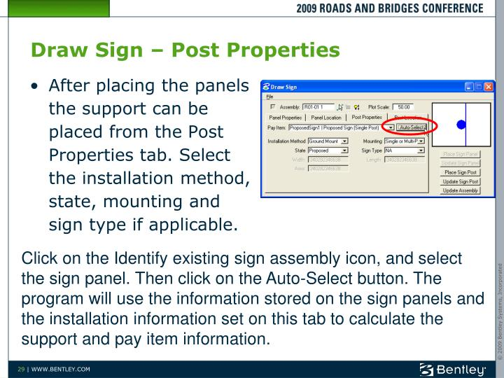 Draw Sign – Post Properties