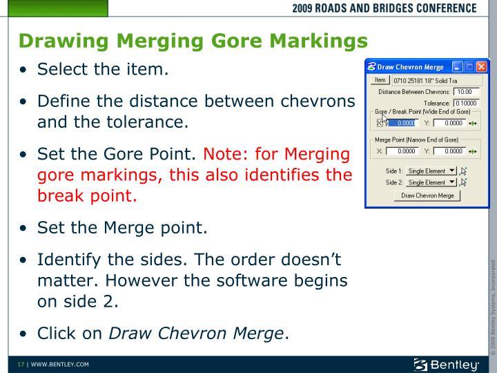Drawing Merging Gore Markings