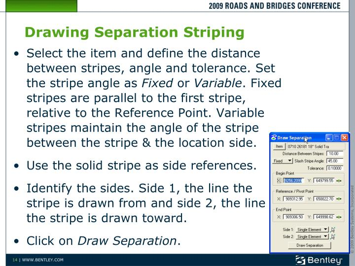 Drawing Separation Striping