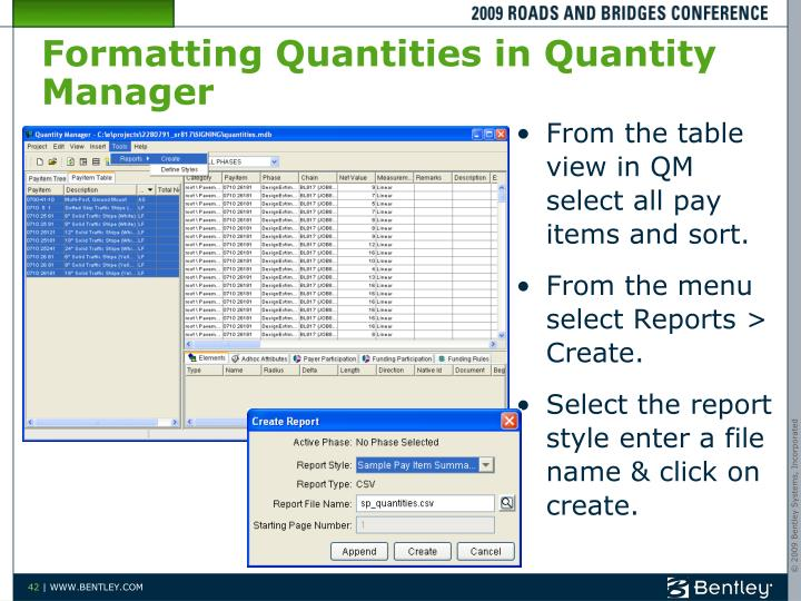 Formatting Quantities in Quantity Manager