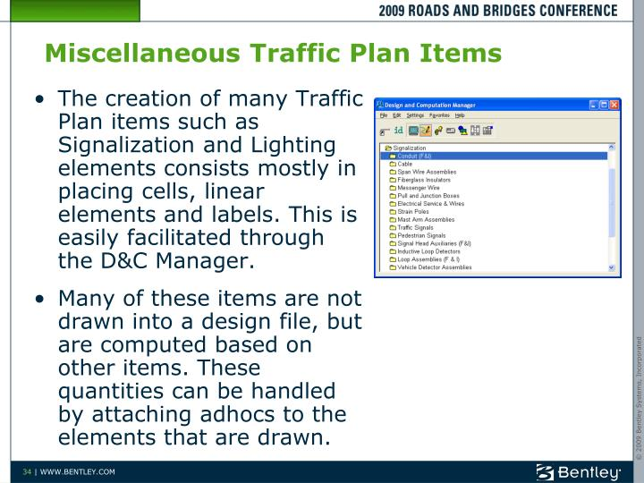 Miscellaneous Traffic Plan Items
