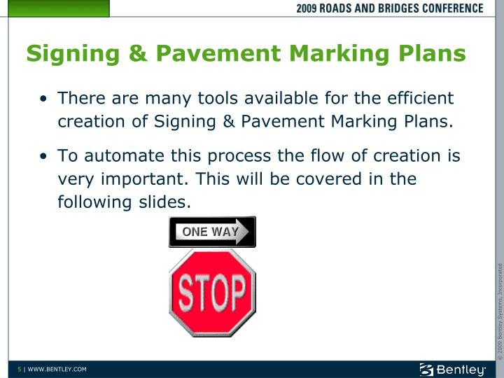 Signing & Pavement Marking Plans