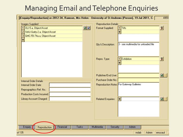 Managing Email and Telephone Enquiries