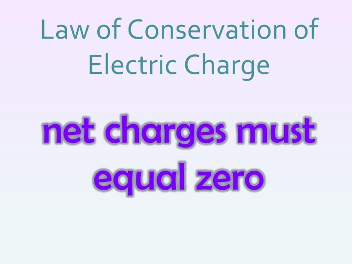 Law of Conservation of Electric Charge