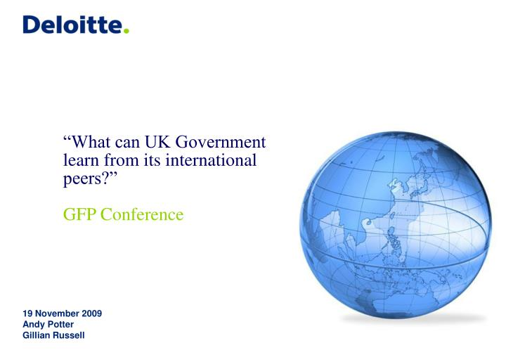 What can uk government learn from its international peers gfp conference