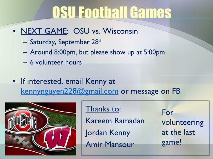 OSU Football Games
