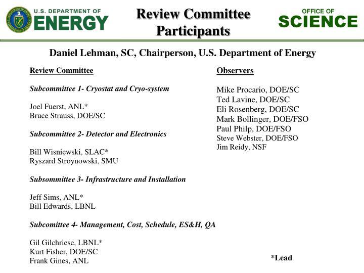 Daniel Lehman, SC, Chairperson