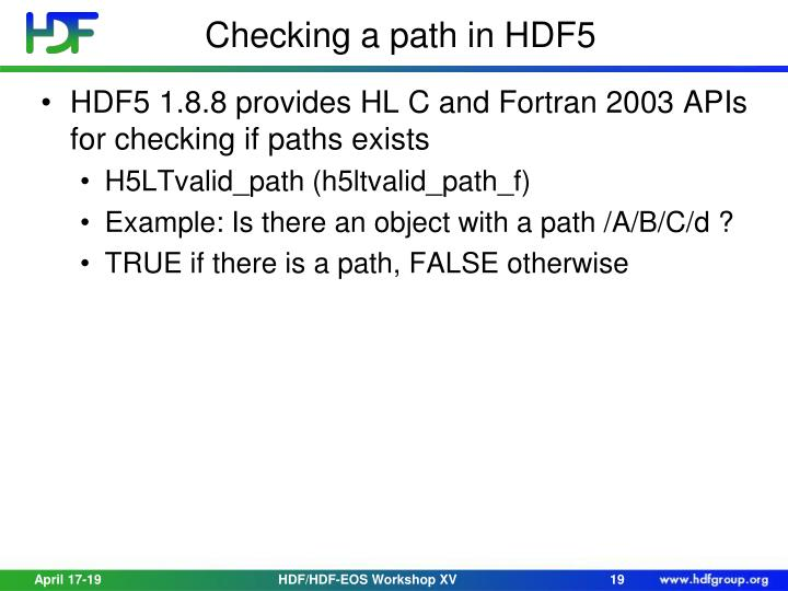 Checking a path in HDF5