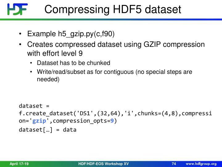 Compressing HDF5 dataset