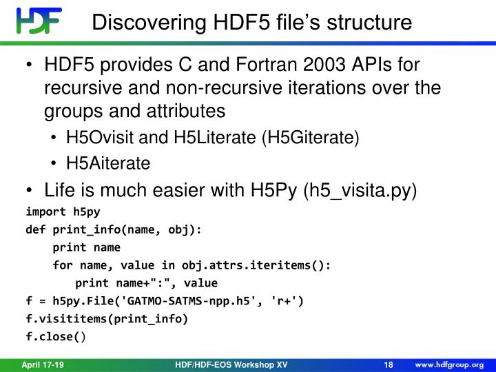Discovering HDF5 file's structure