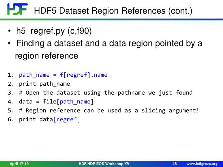 HDF5 Dataset Region References (cont.)