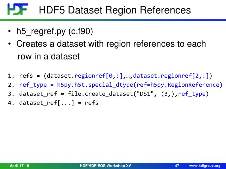 HDF5 Dataset Region References