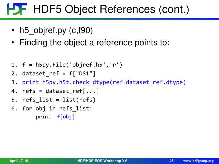 HDF5 Object References (cont.)