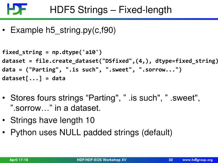 HDF5 Strings – Fixed-length